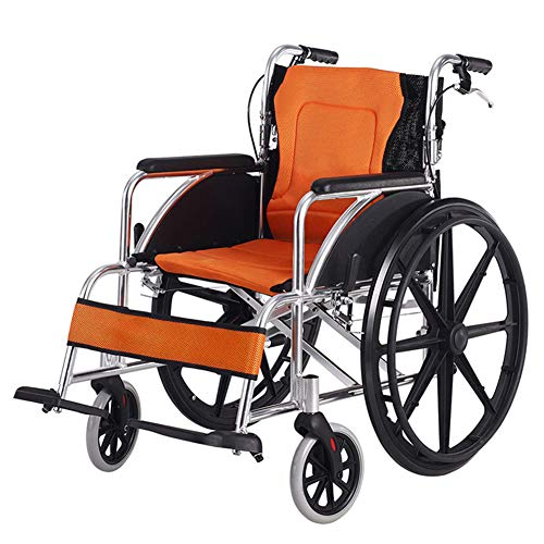 EMOGA Aluminium Faltbar Rollstuhl Leicht Rädern Transport Stuhl Mit Gepolsterten Armlehnen,Sitzbreite 43 cm,4 Bremsen,Orange