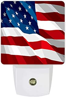 Plug-in Night Lights American Flag Flying on American Independence Day LED Night Lamp with Auto Dusk-to-Dawn Sensor Warm White Light& Ultra Low Power for Bedroom/Bathroom/Hallway/Kid's Room