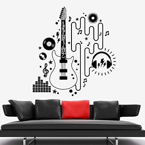 Gitaar koptelefoon CD vinyl muurtattoo elektrische gitarist muzikant rock muurtattoo home muziek klas decoratie 54x50.4cm