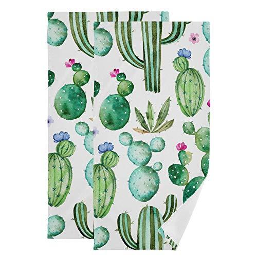 Cactus Face Towel Set of 2, Green Succulents Plants Floral Flower Hand Towel Dish Towels Cotton Bath Decor Set for Kids 30x15 inch Gym Yoga Towels for White Elephant Gift