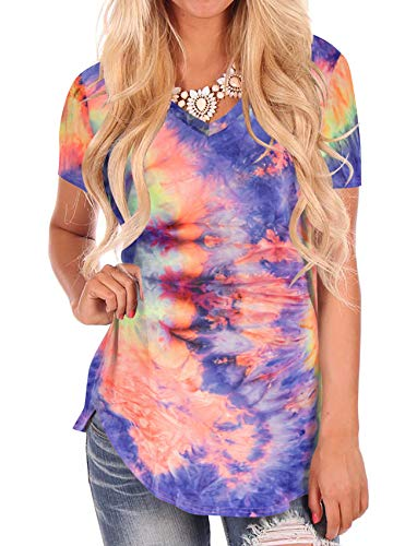 Womens T Shirts Tie Dye V Neck Multicolored Short Sleeve Soft Tee Tops Lavender XL