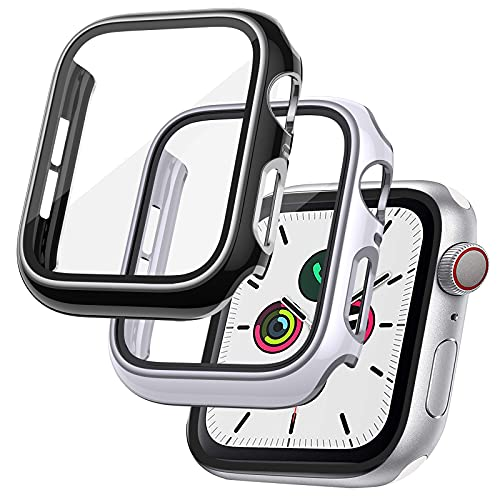 RARF 2-Stück Schutzhülle Kompatibel mit Apple Watch 6/5/4/SE 44mm Panzerglas Schutzfolie, Hülle mit Glas Displayschutz, Vollständige Abdeckung Hard PC Kratzfest HD Ultradünne Case für iWatch 6/5/4/SE