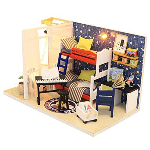 Amagogo Casa de Muñecas a Escala 1/24, Kit de Casa de Bricolaje en Miniatura, Dormitorio para Niños con Muebles