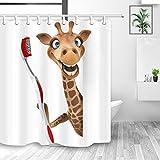 YundM HOME Deko-Tiere, niedliche Giraffe, Zähne putzen in weiß, Duschvorhänge, schimmelresistenter Stoff, wasserdicht, Kinder-Duschvorhang, Badezimmer-Zubehör-Sets, Haken, 177,8 x 177,8 cm
