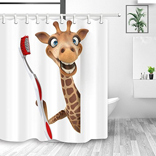 NYMB Funny Animals Home Decor, Cute Giraffe Brushing Teeth in White Shower Curtains, Polyester Fabric Waterproof Shower Curtain, Kids Bathroom Accessory Sets, Hooks Included, 70X70in