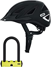 ABUS Urban-I Ventilated Bike Helmet with Integrated LED Taillight and U-Lock Bundle (Medium, Velvet Black) CPSC Certified, 180 Degree Light Visibility for Safe City Cycling (2 Items)