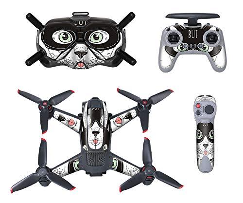 MotuTech - Adesivo per DJI FPV Combo Drone casco V2 tadiocomando controllo di movimento Skin rimovibile antigraffio protezione (1 gatto)