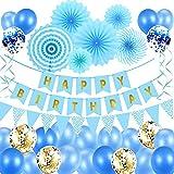 Geburtstagsdeko Party Deko Geburtstag Luftballons Blau Geburtstag Dekoration Set Ballons Partydekoration Junge Mann Mädchen Kinder Geburtstag Deko mit Happy Birthday Banner, Luftballons, Papierfächer