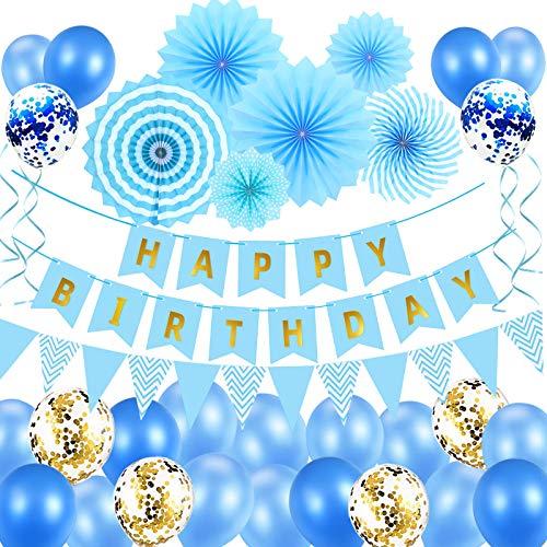 Geburtstagsdeko Party Deko Geburtstag Luftballons Blau Geburtstag Dekoration Set Ballons Partydekoration Junge Mann Mädchen Kinder Geburtstag Deko mit Happy Birthday...