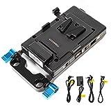 SOONWELL V-Mount Batterieplatte V-Lock Stromversorgungsteiler Akku Adapterplatte mit DC-Kabel und LP-E6 Virtuelle Batterie für BMPCC BMCC Blackmagic Sony und Monitore DSLR-Kameras Tragbare Geräte