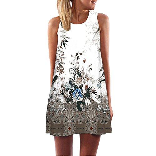 TEBAISE Damen Ärmellos 3D Blumendrucken Sommerkleid Beachwear Strandmode Kleider Kurz Rundhals Minikleid im Ethno-Style Tunika Freizeitkleid A Linien Hemdkleid Blusekleid Karneval Rockabilly Knielang