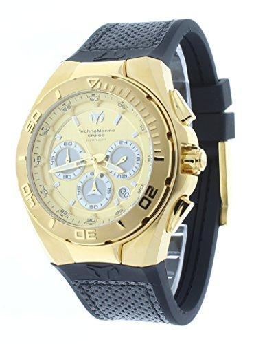 Technomarine TM-117004 - Reloj cronógrafo para hombre, tono dorado, 45 mm, correa de goma, subesfera 24 horas