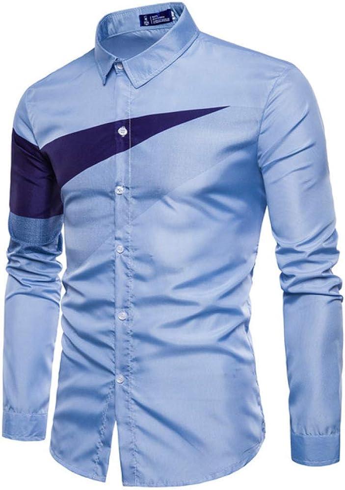 Loeay Verano Moda Hombre Hechizo Color Ocio Stand Collar Camisa Hombres de Alto Grado Cómodo Slim Fit Camisa de Manga Larga