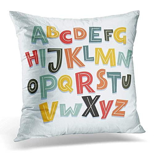 HZLM Funda de almohada divertida, cómics capital, colorido alfabeto inglés con letras, decoración del hogar, cojín cuadrado de 45 x 45 cm