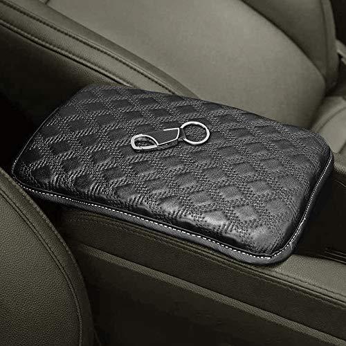AFUNTA Auto Center Console Pad & Key Chain, Universal Black PU Leather Car Armrest Apoyabrazos y Llavero,…