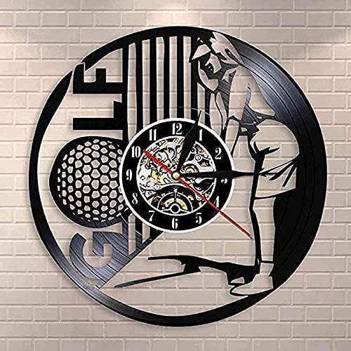 SHILLPS Reloj de Pared Golfista Gimnasio Decoración de Pared Club Retro Disco de Vinilo Reloj de Pared Campeonato Golf Recuerdo Regalo NO LED