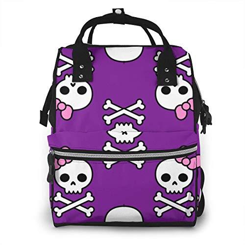 nbvncvbnbv Diaper Bag Backpack Cute Skulls Smal Printed Pattern Bag - Multifunction Travel Back Pack Large Baby Bag Casual Daypacks