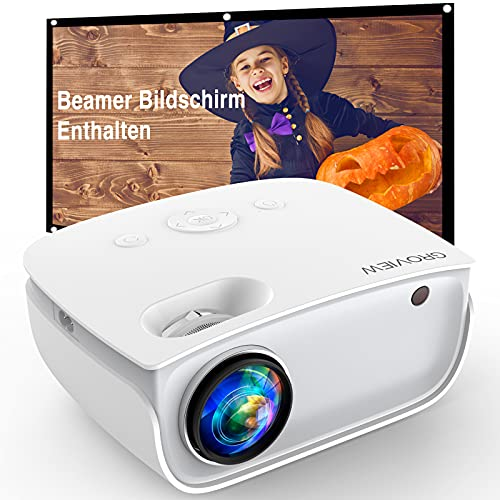 GROVIEW WiFi Beamer, 6500 Lumen Beamer, Nativer 720P Beamer, 240'' Zoll Display, Eingebaute HiFi Lautsprecher, Kompatibel mit iPhone/ Android/ TV-Stick/ HDMI/ USB/ TV-Box/ Laptop/ DVD/ PS4