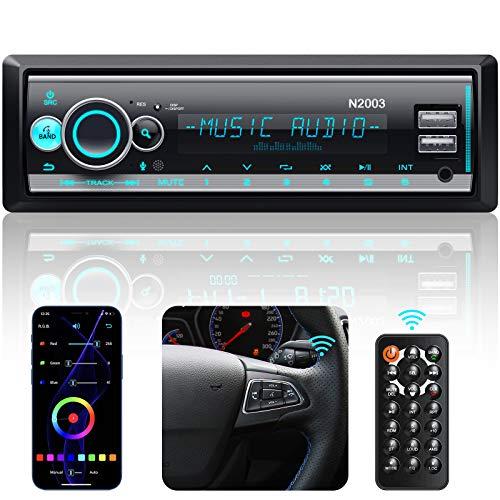 CENXINY Autoradio Bluetooth, RDS/FM/AM /Mehrfarbig Autoradio mit Bluetooth Freisprecheinrichtung Version 5.0 Bass Sound 2 USB/MP3/AUX-IN/SD Senderspeicherfunktion