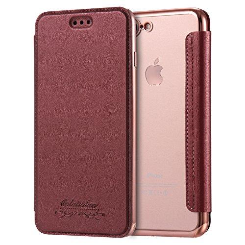 Compatible con iPhone 6/6S Plus, funda de piel con tapa, funda de teléfono móvil, vintage, funda tipo cartera, ultrafina, transparente
