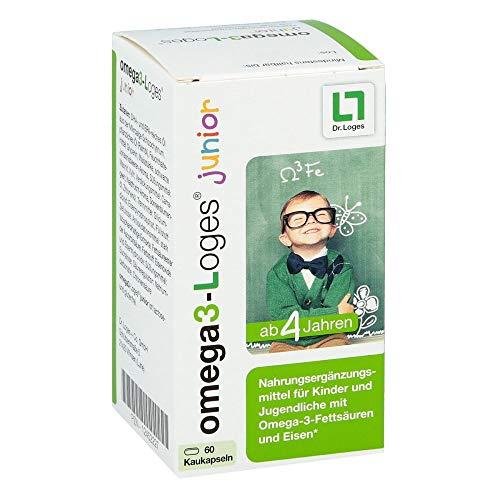 omega3-Loges junior Nahrungsergänzungsmittel für Kinder - 60 Kaukapseln, unterstützt die Konzentration und Lernfähigkeit von Kindern
