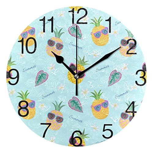 Reloj de pared redondo con diseño de piña con gafas de sol, pintura al óleo silenciosa que no hace tictac, decorativo para el hogar, oficina, escuela, reloj de arte