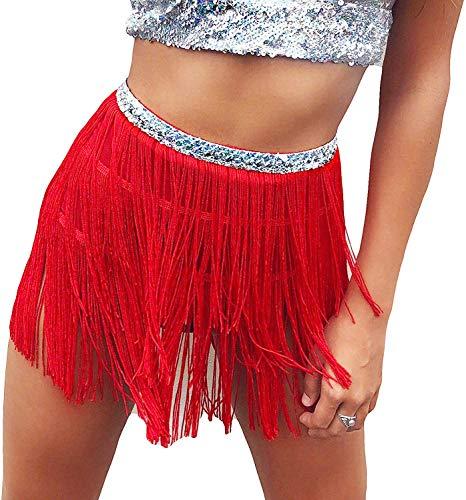 Seawhisper Foulard con frange per danza del ventre, cintura per festival, gonna, rosso, taglia M