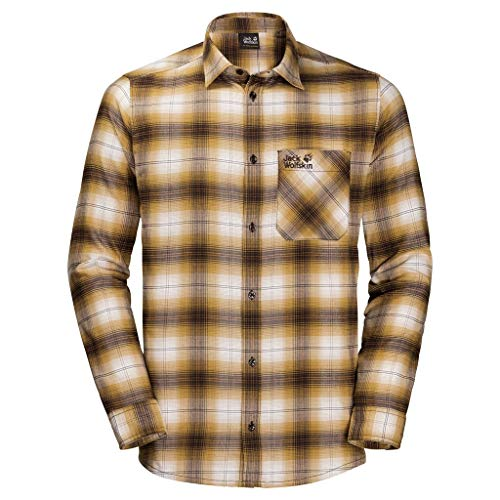 Jack Wolfskin Herren Light Valley Shirt, golden Amber Checks, XL