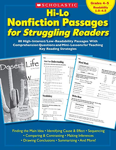 Hi-Lo Nonfiction Passages for Struggling Readers: Grades 4–5: 80 High-Interest/Low-Readability Passages With Comprehension Questions and Mini-Lessons for Teaching Key Reading Strategies