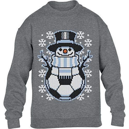Kids Weihnachten Fussball Schneemann Winter Pulli Kinder Pullover Sweatshirt L 134/146 Grau