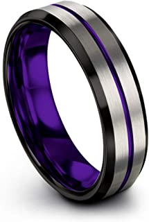 Tungsten Carbide Wedding Band Ring 6mm for Men Women Green Red Blue Purple Black Teal Copper Fuchsia Center Line Grey Exterior Bevel Edge Brushed Polished