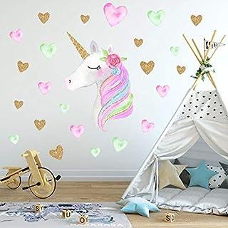 36X60CM Unicorn Heart Wall Sticker Birthday Party Decoration Kids Unicorn Party Favors Set Supplies DIY Baby Room Home Dec...
