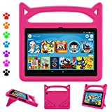 Fire HD 8 Tablet Case,Kindle Fire 8 Case for Kids,Dinines Shockproof Handle Stand Kids Case for Amazon Kindle Fire HD 8 & Fire HD 8 Plus (8' Display) 10th Generation 2020,Pink