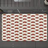 Alfombrilla de Baño Antideslizantes de 50X80 cm,Patrón de vieira abstracto y oriental inspir, Tapete para el Piso Lavable a Máquina con Microfibras Suaves Absorbentes de Agua para Bañera, Ducha y Baño