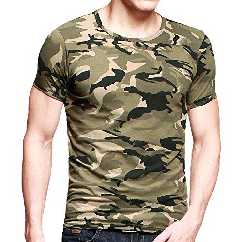 West See Herr Mann Camo T-Shirt Slim Fit Bluse Beiläufig Muskelshirt Tank Hemd Kurzarm (Camo, EU XXL)