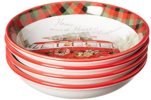 Certified International Home for Christmas 9.25 Soup/Pasta Bowls, Set of4, One Size, Multicolor