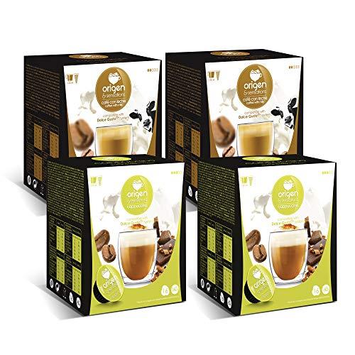 Capsulas compatibles dolce gusto ®* Origen & Sensations | 2 x café con leche | 2 x capuccino | Total 64 cápsulas