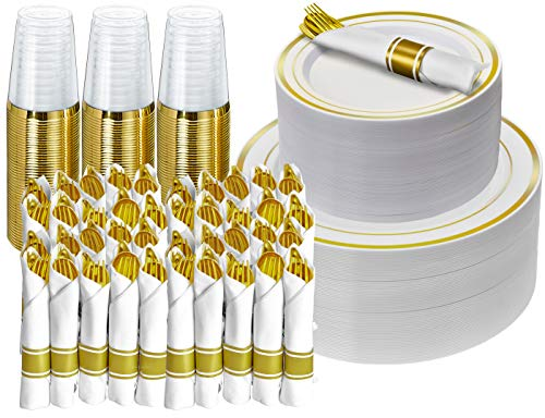 350 Piece Gold Dinnerware Set - 50 Guest - Disposable Gold Dinnerware Set - 100 Gold Rim Plastic Plates - 50 Pre-Rolled Linen Feel Napkins with Spoons, Forks, Knives - 50 Gold 10 OZ Plastic Cups