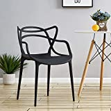 Panana Set Of 4 Masters Dining Chair Modern Designer Armchair with for Garden Lounge Dining Room Home Office Indoor or Outdoor Furniture (Black)