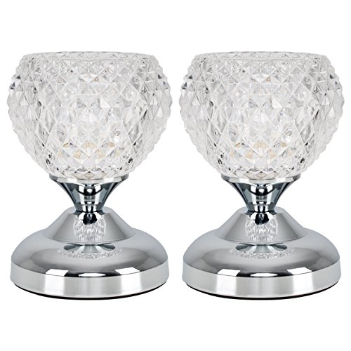Pair of - Modern Silver Chrome & Decorative Glass Bedside Touch Table Lamps