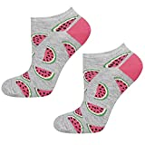 soxo Damen oder Mädchen Sneaker Socken | 11 Lustige Verschiedene Motive | Füsslinge Söckchen für Frauen | Grössen 35-40 (Wassermelonen)