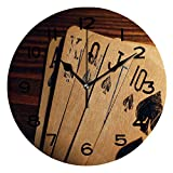 ALUONI 10 inch Round Clock Poker Tournament Decorations,Damaged Old Cards On Wooden Table Close Up Leisure Unique Wall Clock-for Living Room, Bedroom or Kitchen Use No26631