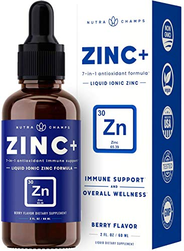Organic Zinc Liquid Supplement - Zinc+ 7-in-1 Immune Support System Boost with Elderberry, Vitamin C, Echinacea & More - Ionic Concentrated Mineral Drops for Men, Women & Kids, 2 oz Berry Flavor