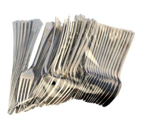 Ardisle Lot de 240 plastique argenté-métallique-Ménagère-Fourchettes jetables cuillères pour pique-nique 96 96 couteaux fourchettes cuillères 96