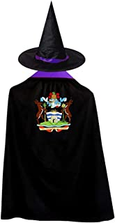 Antigua And Barbuda Continent Deer Flag Witch Wizard Cloak Cape With Hat Halloween Costumes For Girls Boys