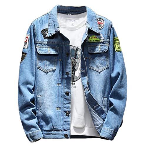 Aooword-men clothes Herren klassische lockere Passform beiläufige tag outwear mantel jeansjacke X-Large Blau