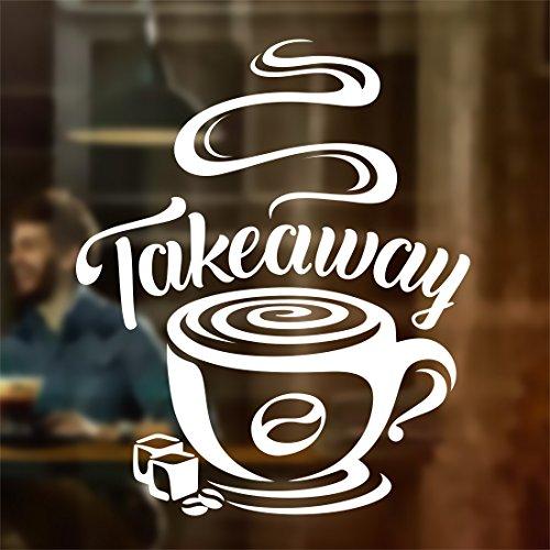 Wall4stickers Taza de café para Llevar Tienda de vinos Vinilo Pegatina Letrero de Ventana Decoración de Signo de Arte de Pared