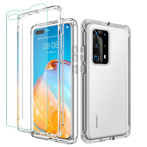Valchinova for Huawei P40 Pro+ Case Clear 2 in 1 Hybrid Rugged Armor Cover Soft TPU Transparent PC Bumper 360° Full Body Protect Non-Slip Shockproof + Tempered Glass Screen Protector