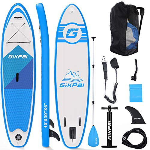 Fixget SUP Board, Stand Up Paddling Aufblasbare SUP Boards Set zum Unisex-Adult 10 Foot 33 Inches 330 Pound Load Capacity Adjustable (Blue)
