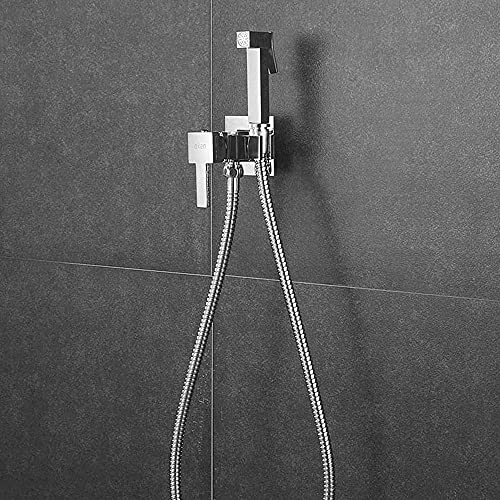 Kibath 469251 Grifo WC Bidet higiene íntima para Agua fría y Caliente diseño Cuadrado. Fabricado en latón, Cromo Brillo, 1
